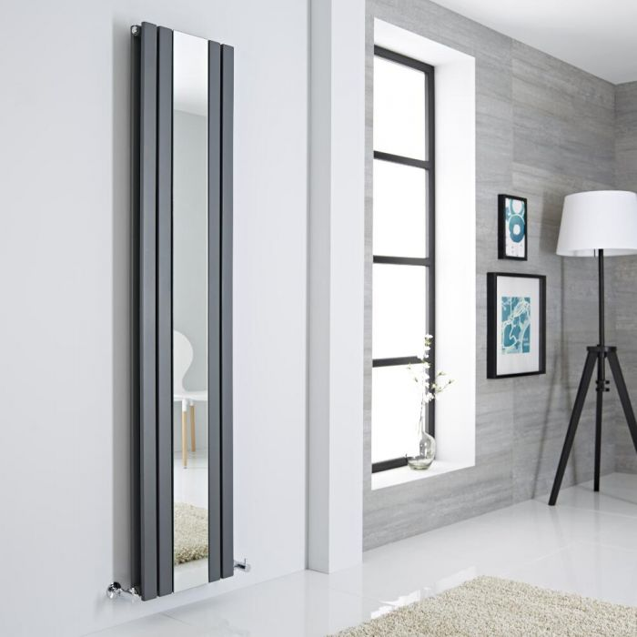 Milano Icon - Anthracite Vertical Designer Radiator With Mirror - 1800mm x 385mm
