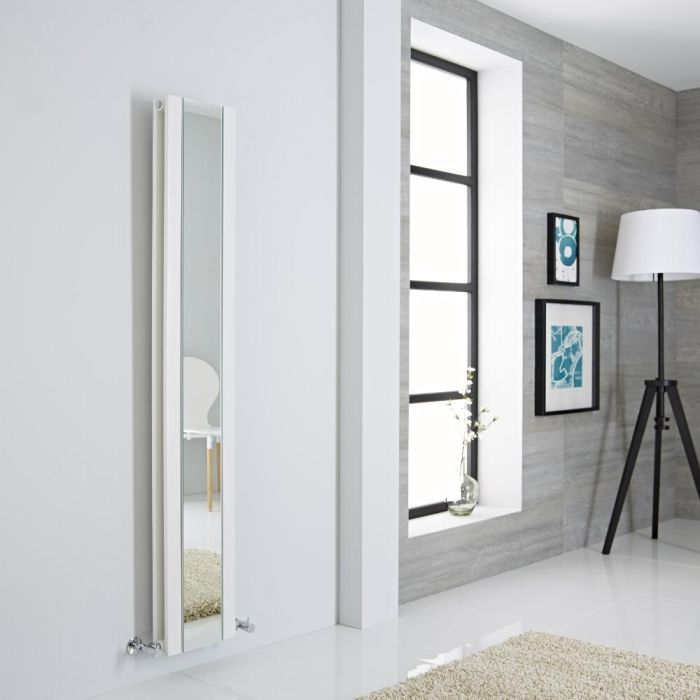 Milano Icon - White Vertical Designer Radiator With Mirror - 1600mm x 265mm