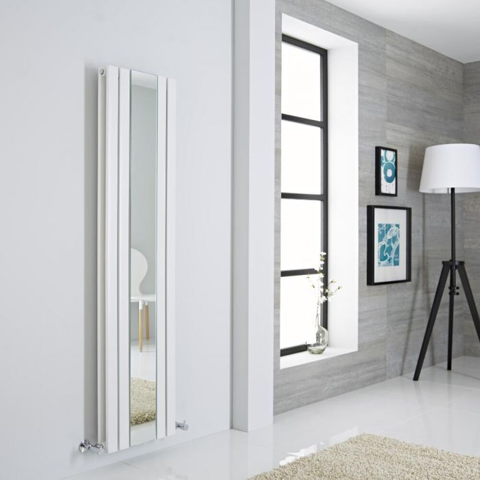 Milano Icon - White Vertical Designer Radiator With Mirror - 1600mm x 385mm