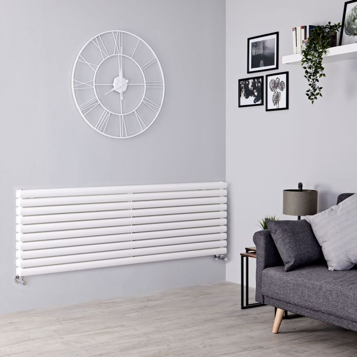 Milano Aruba - White Horizontal Designer Radiator - 590mm x 1600mm (Double Panel)