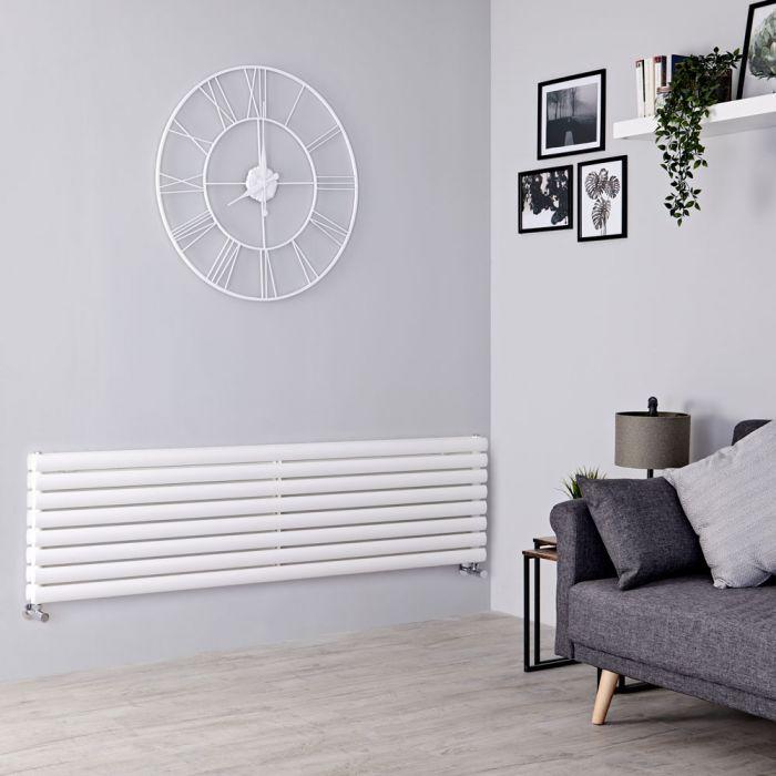 Milano Aruba - White Horizontal Designer Radiator - 472mm x 1600mm (Double Panel)