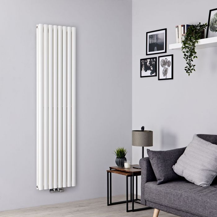 Milano Aruba Flow - White Vertical Middle Connection Designer Radiator - 1600mm x 472mm (Double Panel)