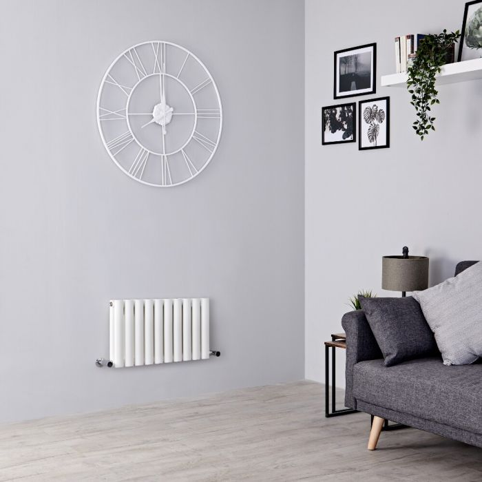 Milano Aruba - White Horizontal Designer Radiator - 400mm x 595mm (Double Panel)