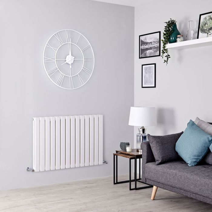 Milano Alpha - White Flat Panel Horizontal Designer Radiator - 635mm x 980mm (Double Panel)
