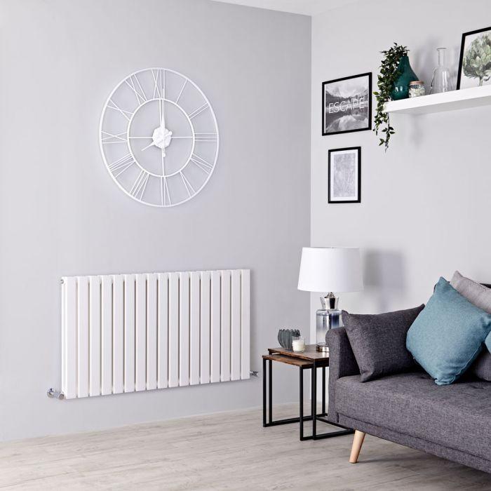 Milano Alpha - White Flat Panel Horizontal Designer Radiator - 635mm x 1190mm (Double Panel)