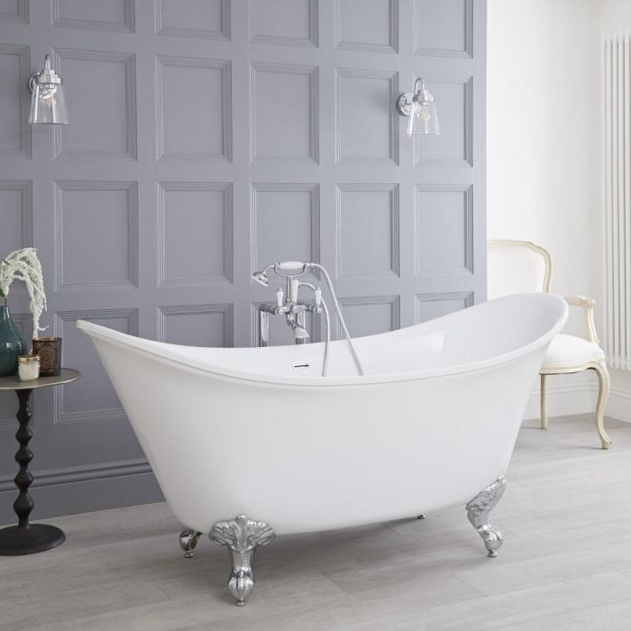Milano Richmond - White Traditional Double-Ended Freestanding Slipper Bath with Choice of Feet - 1730mm x 750mm