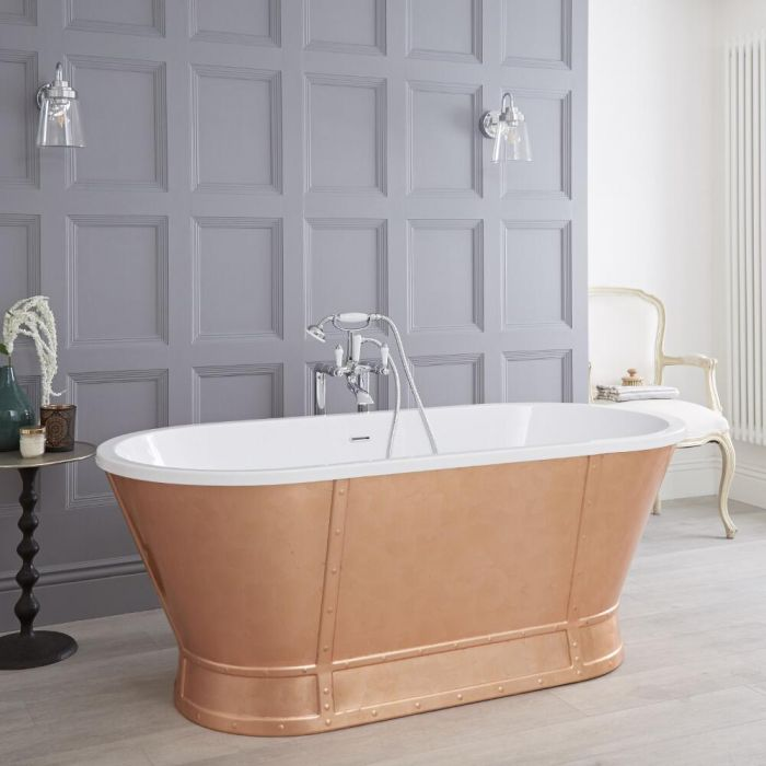 Milano Cartmel - Copper Traditional Double-Ended Freestanding Roll Top Bath - 1676mm x 780mm