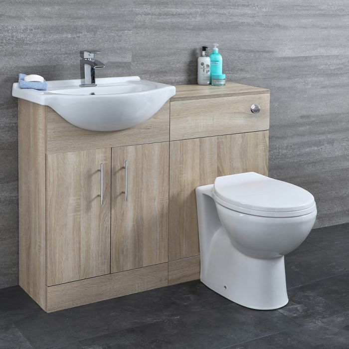 Milano Arch - Oak Modern 1040mm Vanity and WC Combination Unit with Pan and Cistern