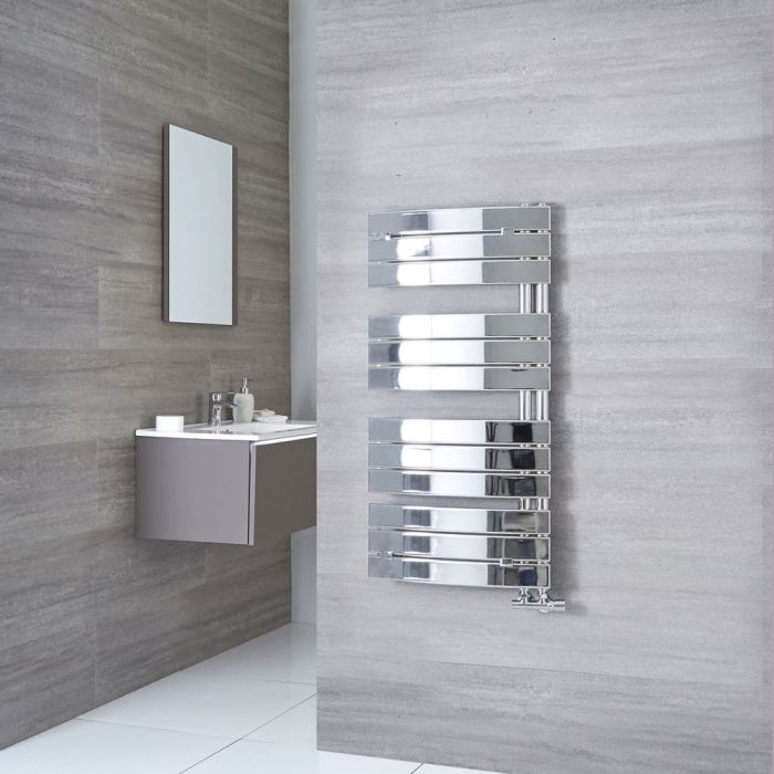 Milano Azore - Chrome Designer Heated Towel Rail - 1080mm x 550mm