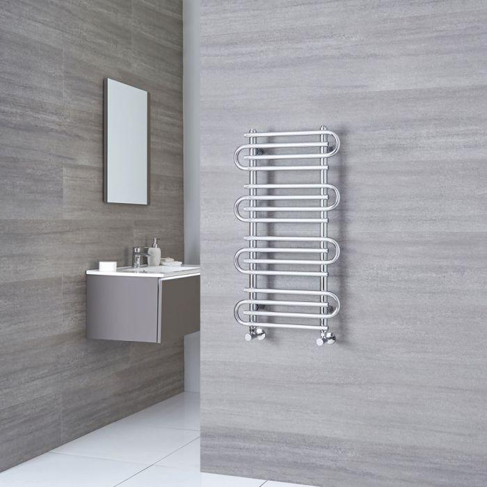 Milano Select - chrome Designer Heated Towel Rail - 900mm x 510mm