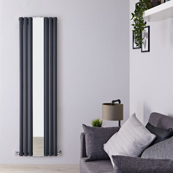 Milano Aruba - Anthracite Vertical Designer Radiator With Mirror - 1800mm x 499mm (Double Panel)