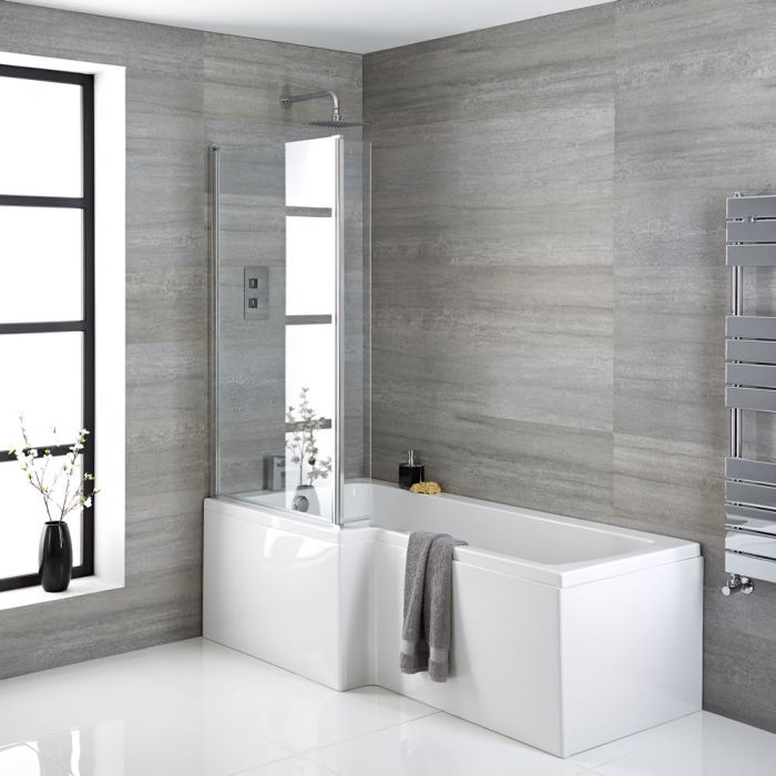 Milano Elswick - 1700mm x 850mm Square Shower Bath with Panels and Screen - Left Hand