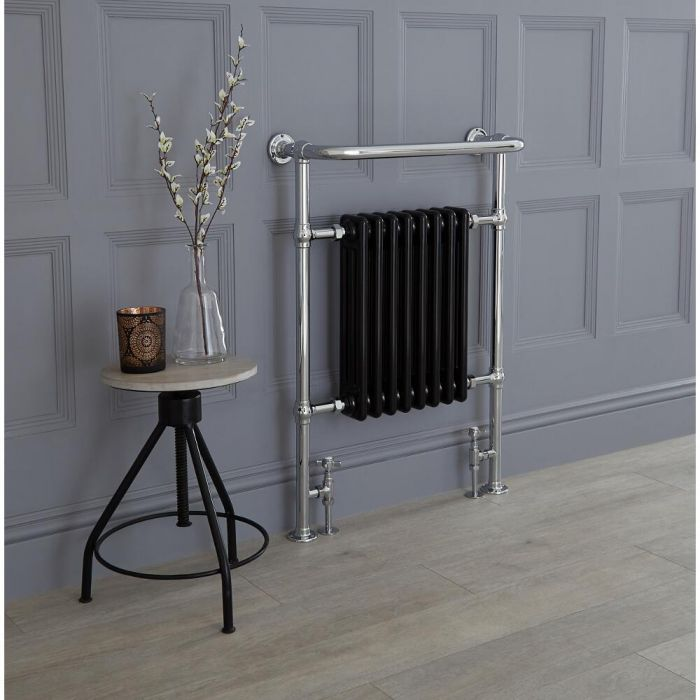 Milano Trent - Chrome and Black Traditional Heated Towel Rail - 960mm x 675mm