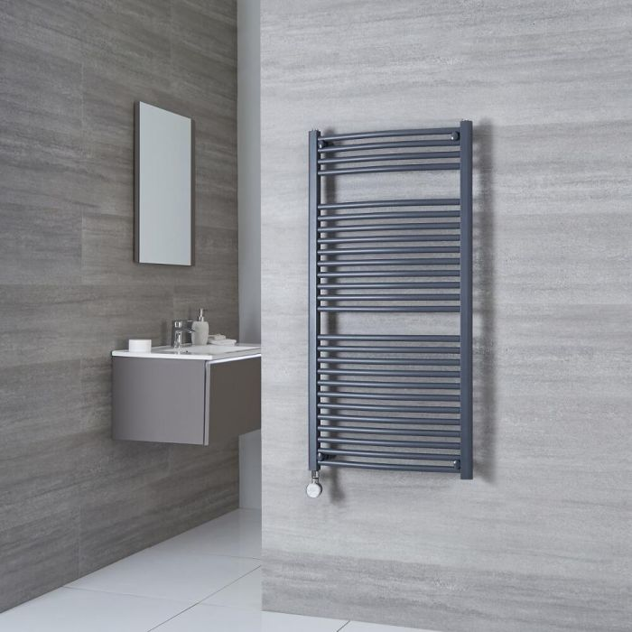 Milano Brook Electric - Anthracite Curved Heated Towel Rail - 1200mm x 500mm