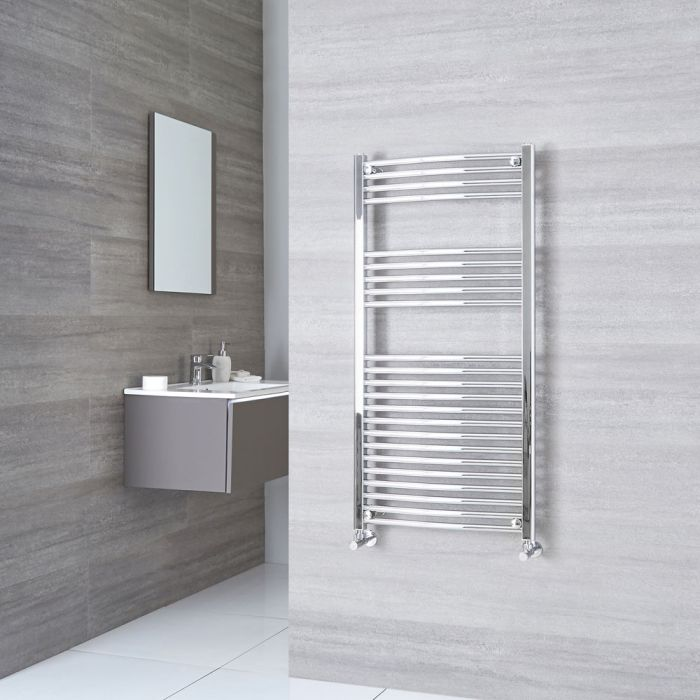 Milano Ribble - Chrome Curved Heated Towel Rail - 1200mm x 600mm