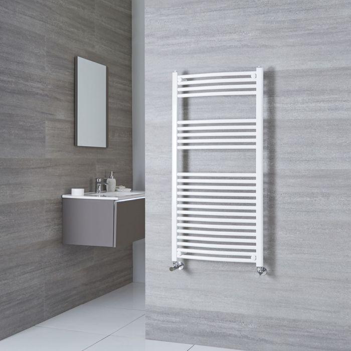 Milano Calder - White Curved Heated Towel Rail - 1200mm x 600mm