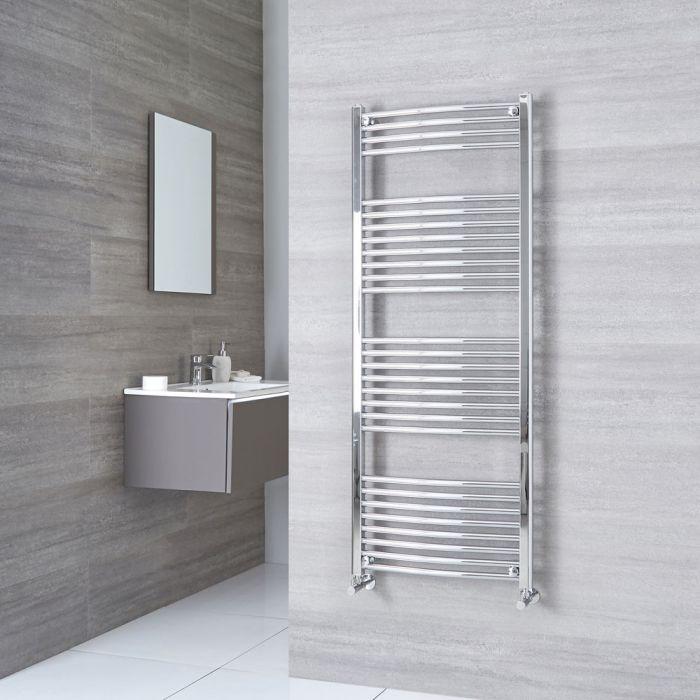 Milano Ribble - Chrome Curved Heated Towel Rail - 1500mm x 600mm