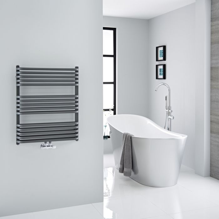 Milano Bow - Anthracite D-Bar Central Connection Heated Towel Rail - 736mm x 600mm