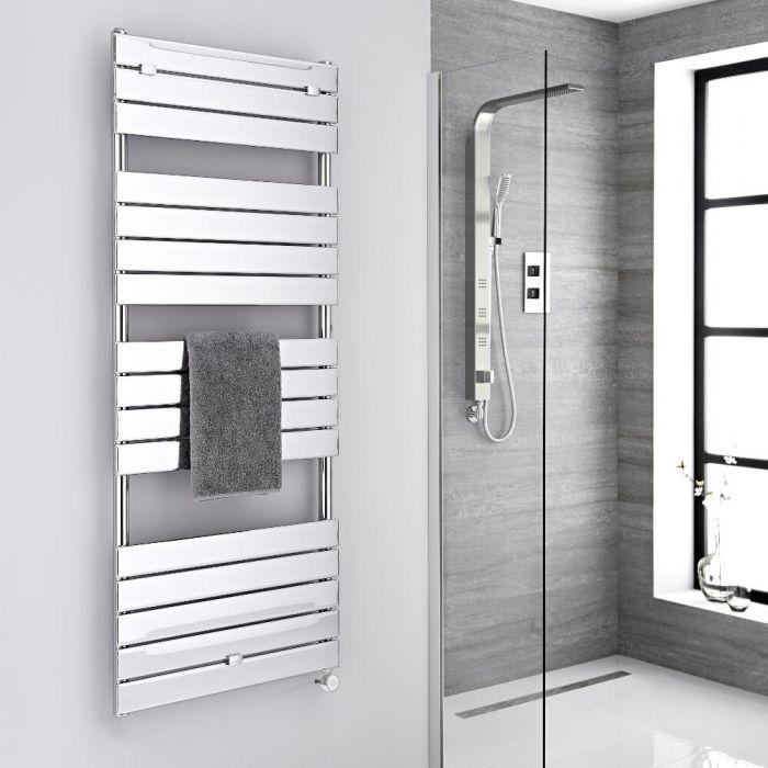 Milano Lustro Electric - Chrome Flat Panel Designer Heated Towel Rail - 1512mm x 600mm