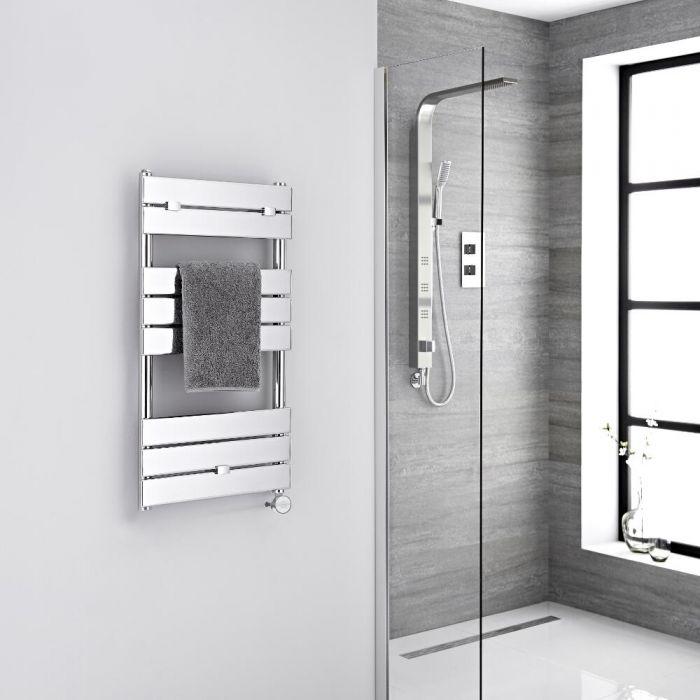 Milano Lustro Electric - Chrome Flat Panel Designer Heated Towel Rail - 840mm x 450mm