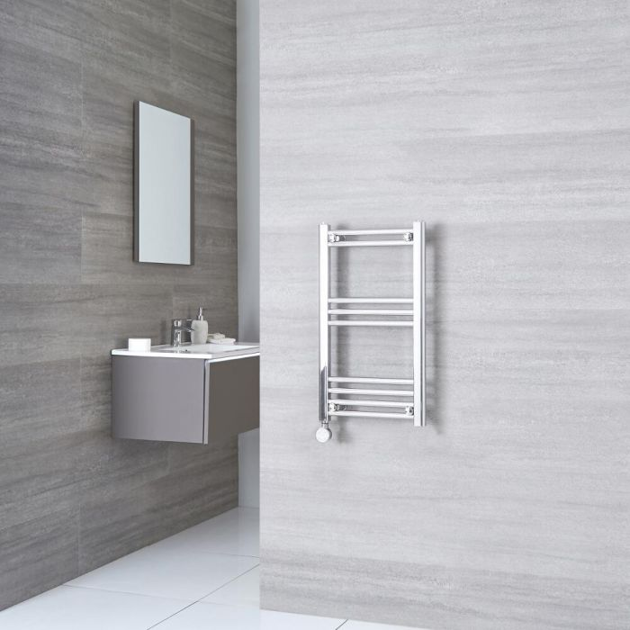 Milano Ribble Electric - Chrome Flat Heated Towel Rail - 700mm x 400mm