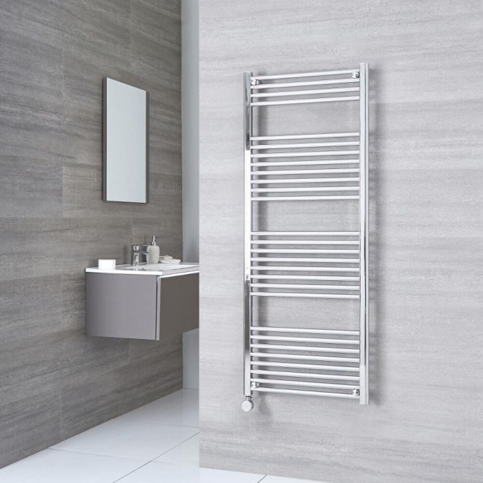 Milano Ribble Electric - Chrome Flat Heated Towel Rail - 1500mm x 500mm