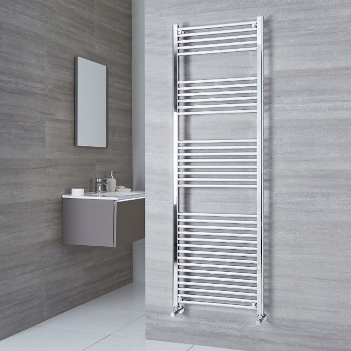 Milano Ribble - Chrome Flat Heated Towel Rail - 1800mm x 500mm