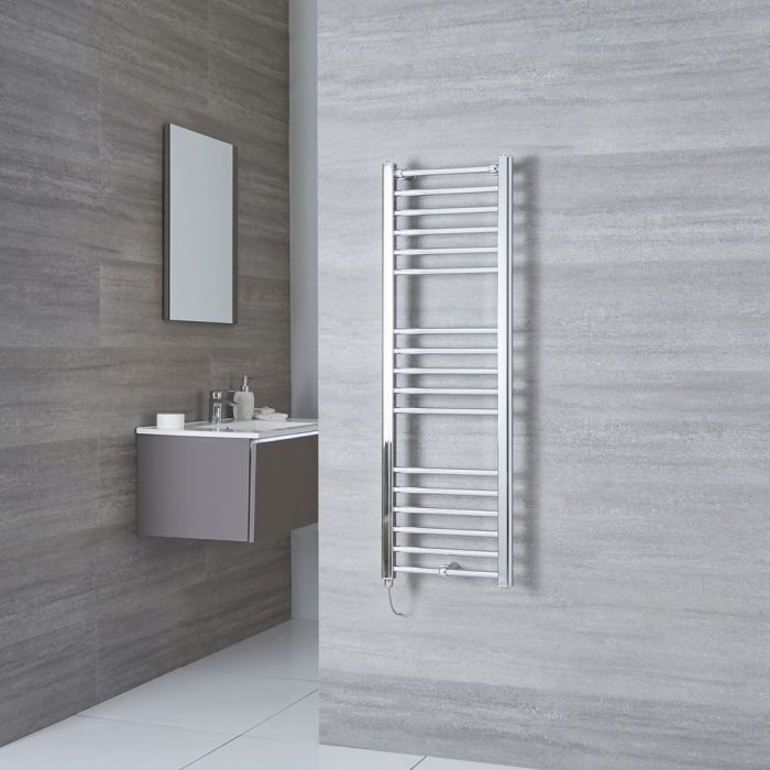 Milano Eco Electric - Flat Chrome Heated Towel Rail 1200mm x 400mm