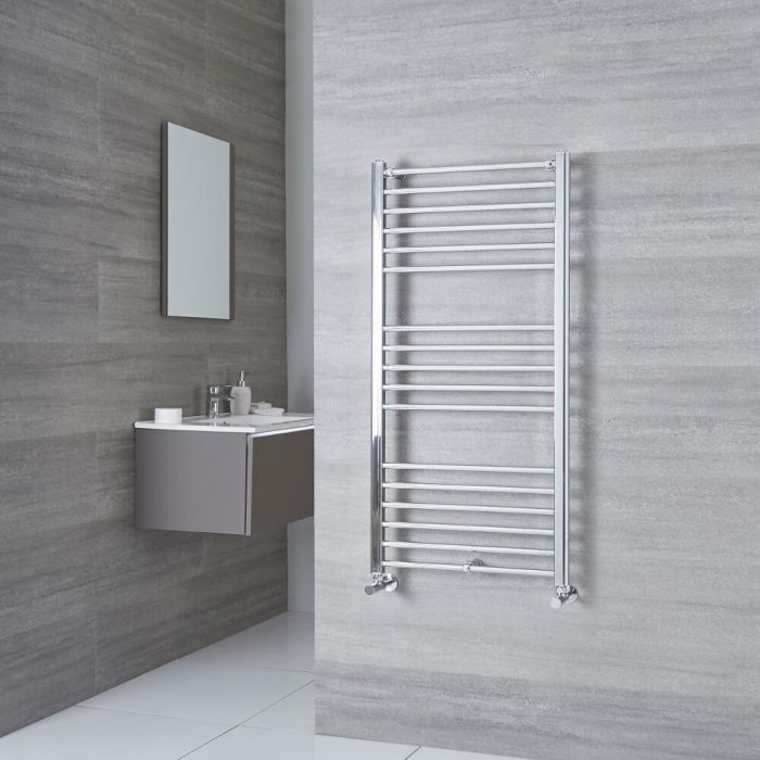 Milano Eco - Chrome Flat Heated Towel Rail - 1200mm x 500mm