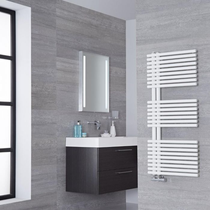 Lazzarini Way Bari - Mineral White Designer Heated Towel Rail - 1120mm x 500mm