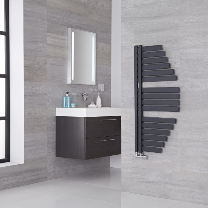 Lazzarini Way Spinnaker - Anthracite Designer Heated Towel Rail - 1100mm x 483mm