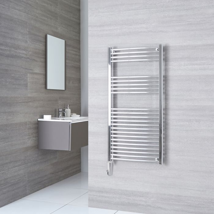 Kudox Ladder Electric - Chrome Curved Thermostatic Heated Towel Rail - 1200mm x 600mm