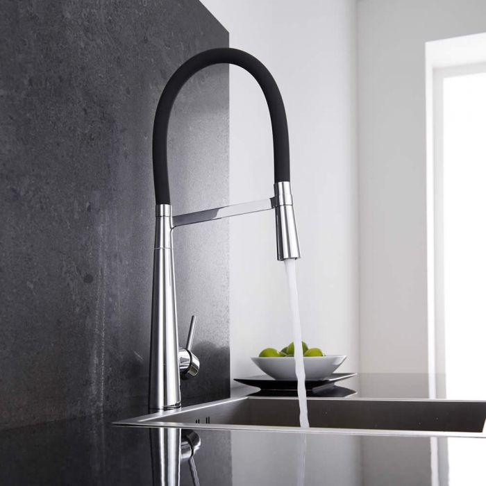 Milano - Modern Deck Mounted Monobloc Kitchen Mixer Tap with Flexi Spray - Black and Chrome