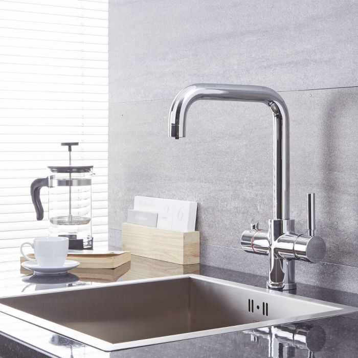 Milano Mirage - Modern Deck Mounted 3-in-1 Instant Boiling Hot Water Kitchen Tap - Chrome