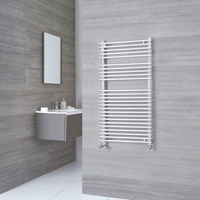 Kudox Harrogate - Chrome Flat Bar on Bar Heated Towel Rail - 1150mm x 450mm