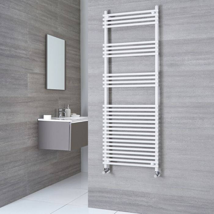 Kudox Harrogate - White Flat Bar on Bar Heated Towel Rail - 1650mm x 450mm