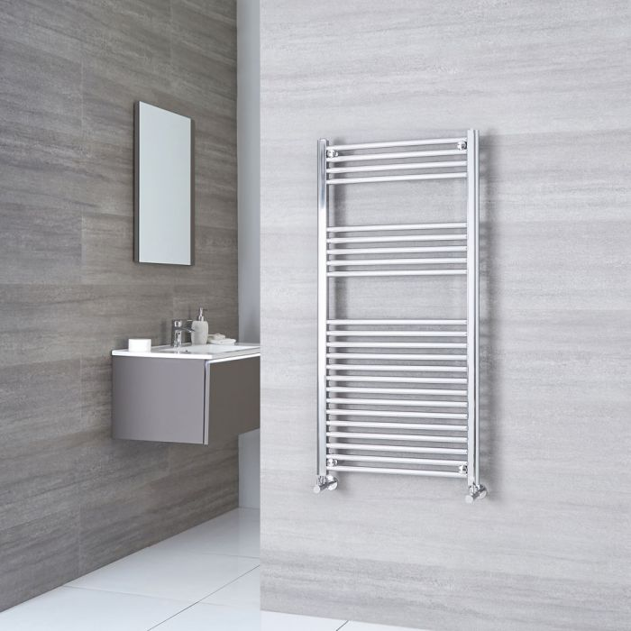 Kudox Ladder - Premium Chrome Flat Heated Towel Rail - 1200mm x 500mm