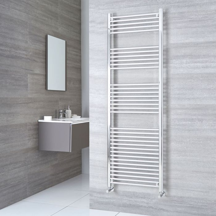 Kudox Ladder - Premium Chrome Flat Heated Towel Rail - 1800mm x 500mm