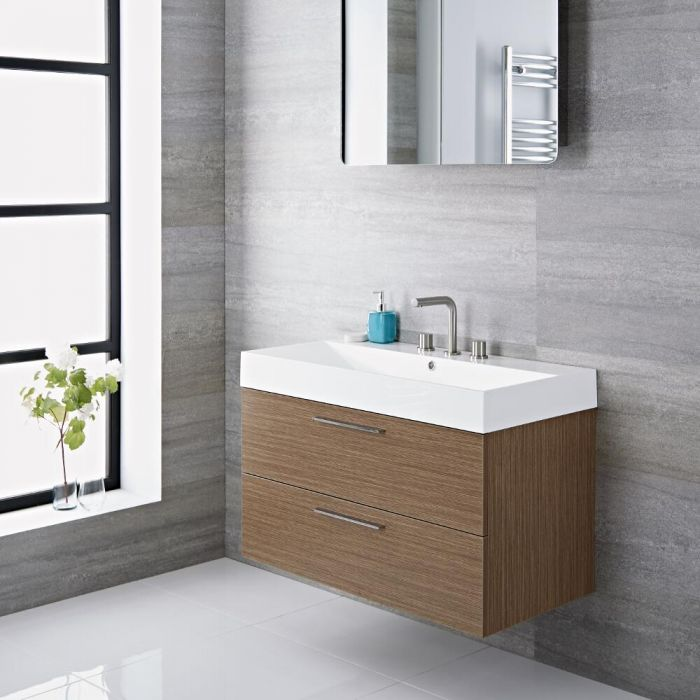 Milano Linley - Oak 900mm Wall Hung Vanity Unit with Basin