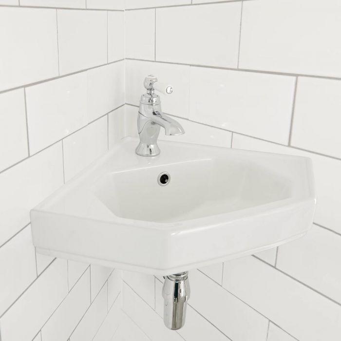 Milano Richmond - White Traditional Wall Hung Corner Basin - 450mm x 420mm (1 Tap-Hole)