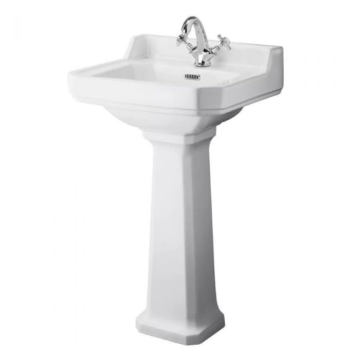 Milano Richmond - 500mm Cloakroom Basin with Full Pedestal - 1 Tap-Hole