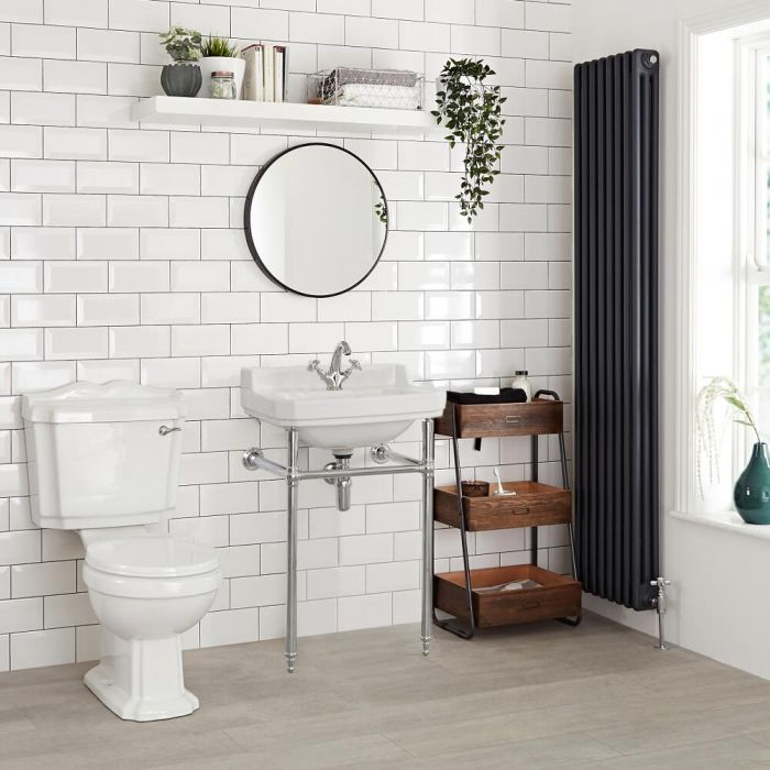Milano Richmond - White Traditional Square Basin and Washstand - 500mm x 350mm (1 Tap-Hole)