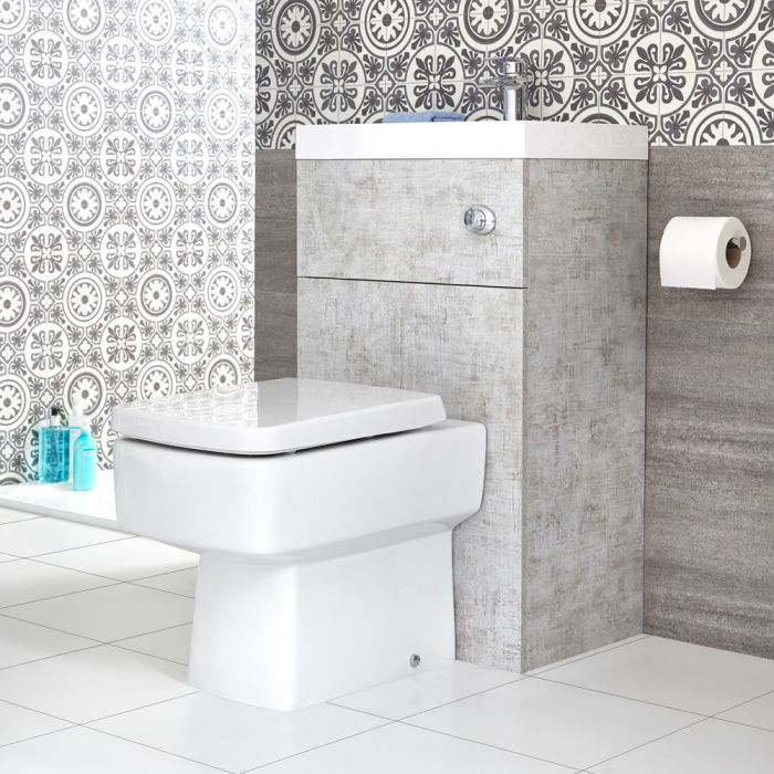 Milano Lurus - Concrete Grey Modern Farington Toilet and Basin Combination Unit - 500mm x 890mm