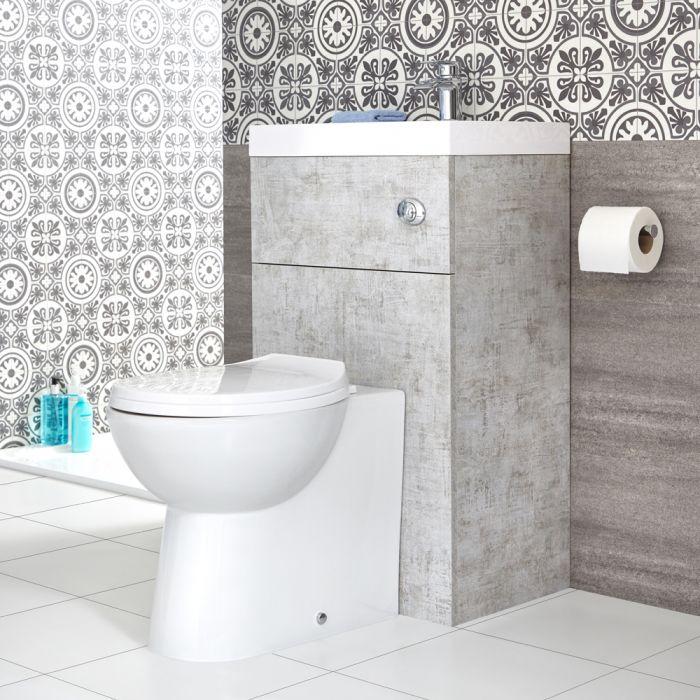 Milano Lurus - Concrete Grey Modern Select Toilet and Basin Combination Unit - 500mm x 890mm
