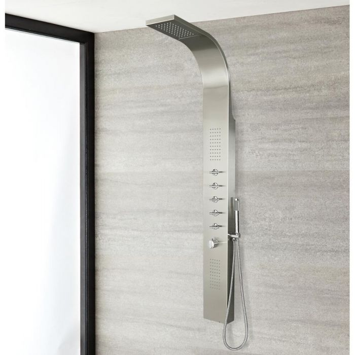 Milano Niagra - Modern Exposed Thermostatic Shower Tower Panel with Waterfall Shower Head, Hand Shower and Body Jets - Chrome