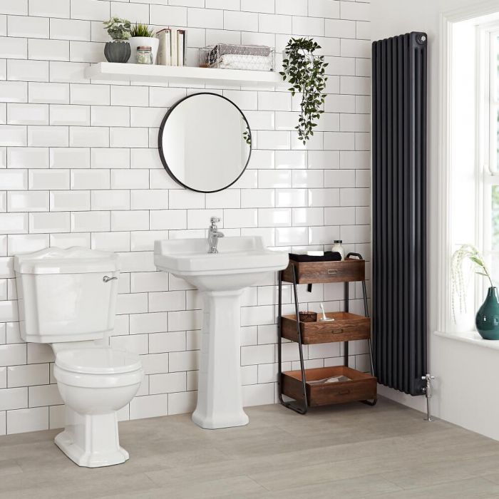 Milano Richmond - White Traditional Square Basin with Full Pedestal - 595mm x 470mm (1 Tap-Hole)