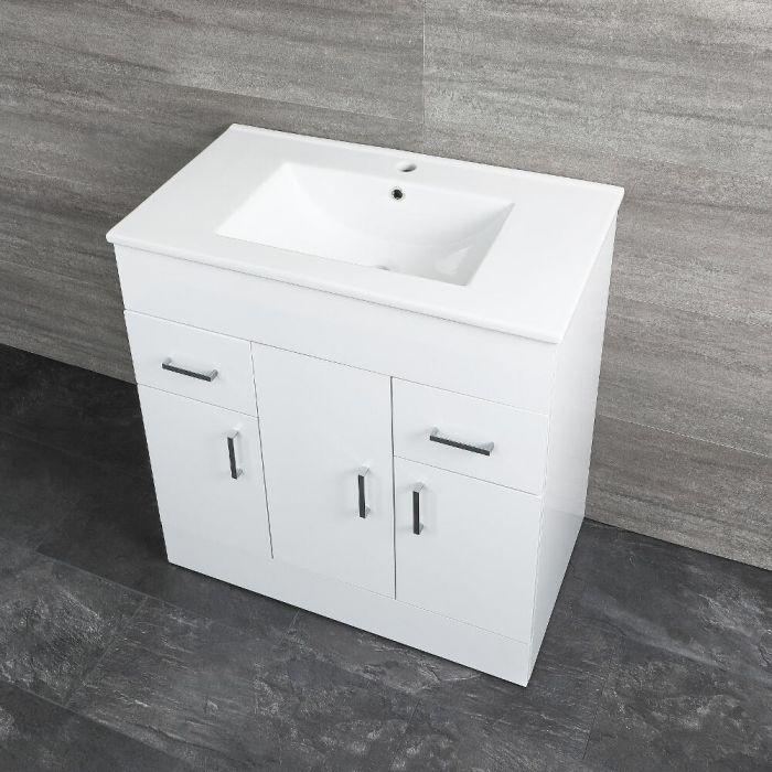 Milano Ren - White 800mm Minimalist Floor Standing Vanity Unit with Basin