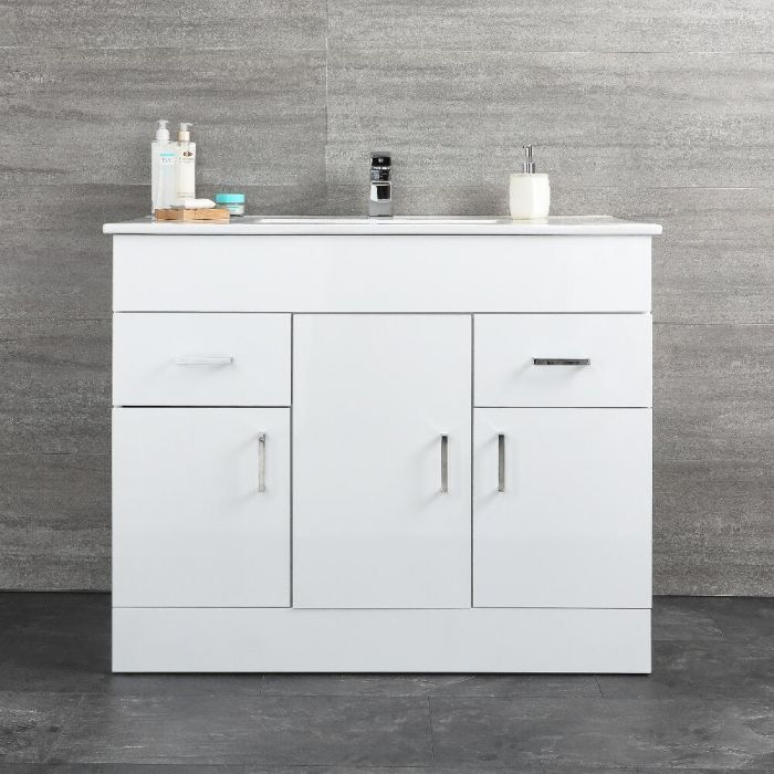 Milano Ren - White 1000mm Minimalist Floor Standing Vanity Unit with Basin