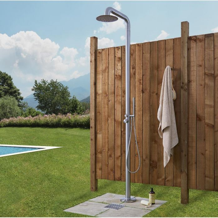 Milano Sevilla - Brushed Steel Outdoor Shower with Shower Head and Hand Shower (2 Outlet)