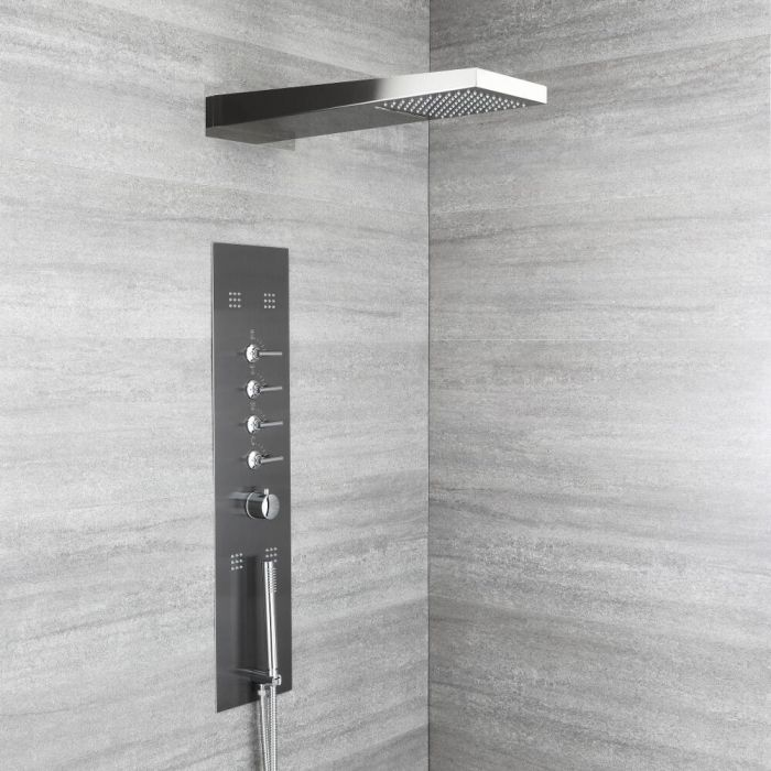Milano Océanie - Modern Concealed Thermostatic Shower Tower Panel with Waterfall Shower Head, Hand Shower and Body Jets - Grey